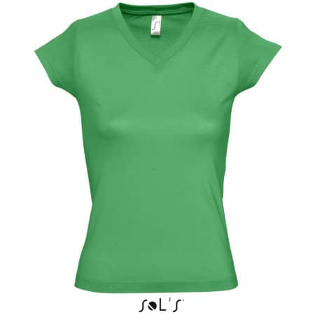 Ladies` V-Neck-T-Shirt Moon in Kelly Green von SOL´S (Artnum: L156