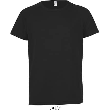 Kids` Raglan Sleeved T-Shirt Sporty in Black von SOL´S (Artnum: L198K