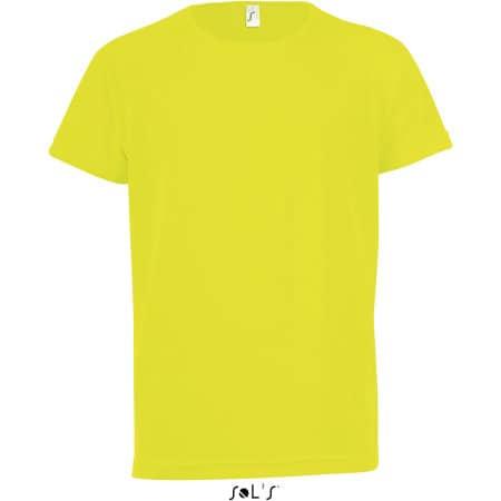 Kids` Raglan Sleeved T-Shirt Sporty in Neon Yellow von SOL´S (Artnum: L198K
