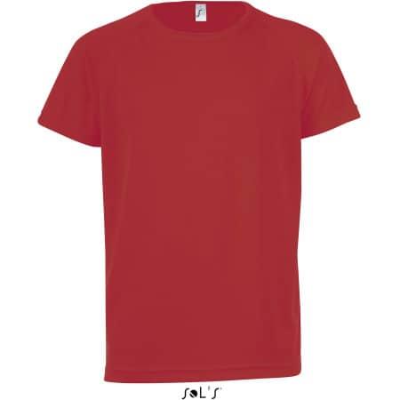 Kids` Raglan Sleeved T-Shirt Sporty in Red von SOL´S (Artnum: L198K