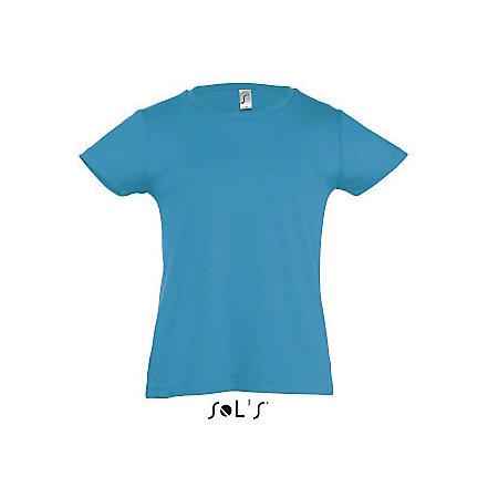 Kids` T-Shirt Girlie Cherry in Aqua von SOL´S (Artnum: L225K