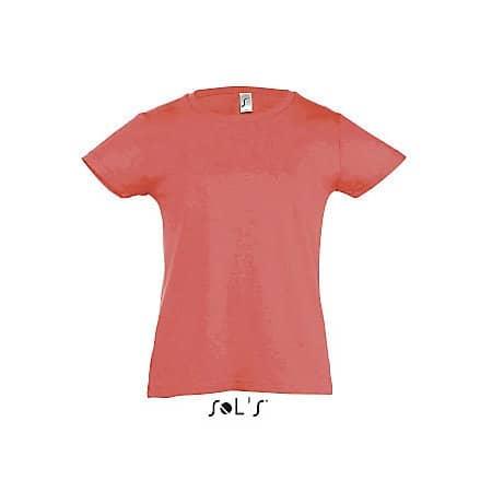 Kids` T-Shirt Girlie Cherry in Coral von SOL´S (Artnum: L225K