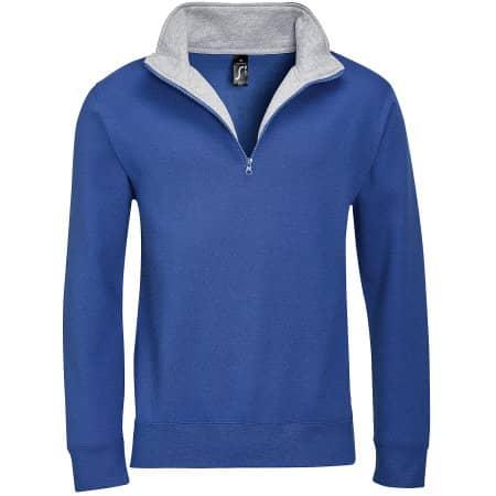 Men Sweat Shirt Scott 1/4 Zip in Royal Blue Grey Melange von SOL´S (Artnum: L312