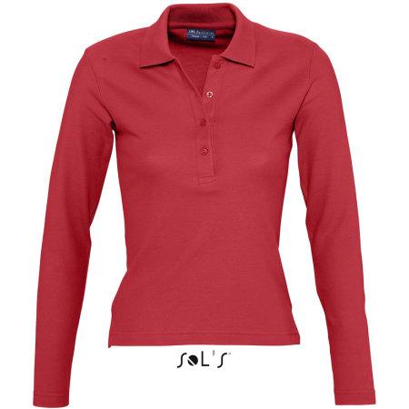 Ladies` Longsleeve Polo Podium in Red von SOL´S (Artnum: L535