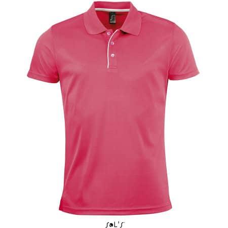 Men`s Sports Polo Shirt Performer in Neon Coral von SOL´S (Artnum: L542