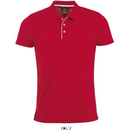 Men`s Sports Polo Shirt Performer in Red von SOL´S (Artnum: L542