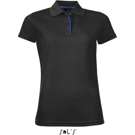 Women`s Sports Polo Shirt Performer in Black von SOL´S (Artnum: L544