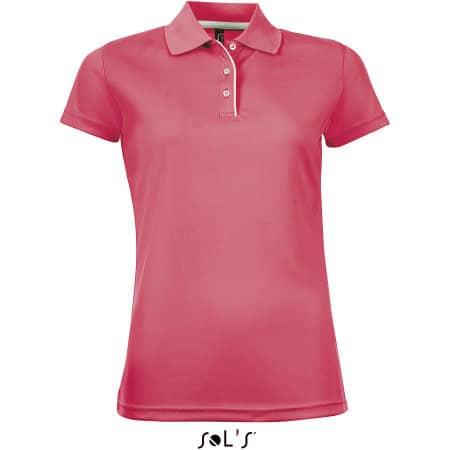 Women`s Sports Polo Shirt Performer in Neon Coral von SOL´S (Artnum: L544