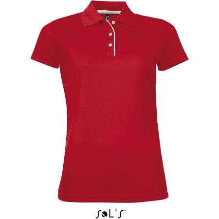 Women`s Sports Polo Shirt Performer in Red von SOL´S (Artnum: L544
