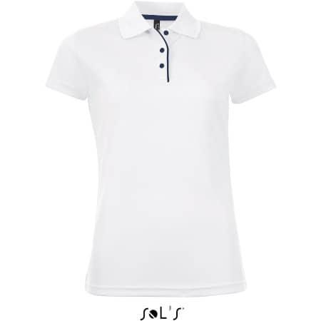 Women`s Sports Polo Shirt Performer in White von SOL´S (Artnum: L544