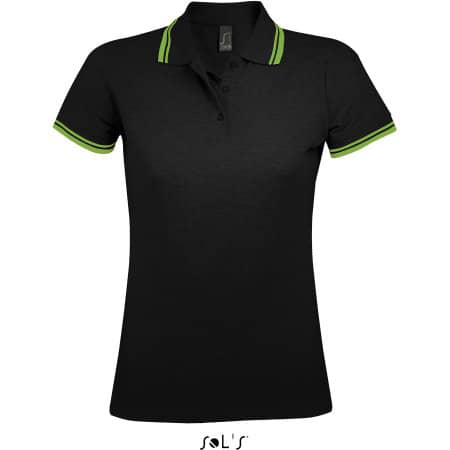Women Polo Shirt Pasadena in Black|Lime von SOL´S (Artnum: L586