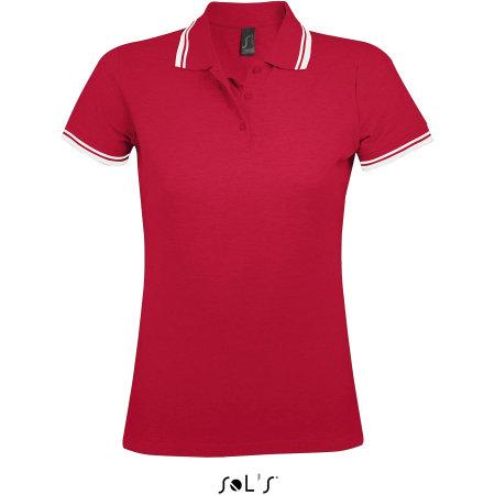 Women Polo Shirt Pasadena in Red White von SOL´S (Artnum: L586