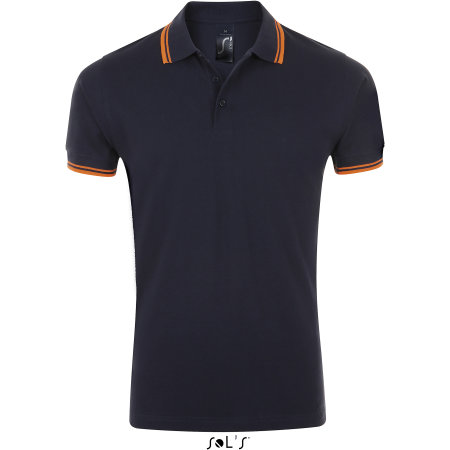 Men`s Polo Shirt Pasadena in French Navy Neon Orange von SOL´S (Artnum: L591