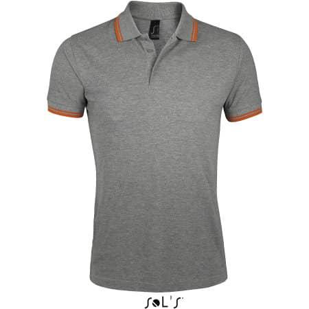 Men`s Polo Shirt Pasadena in Grey Melange|Orange von SOL´S (Artnum: L591