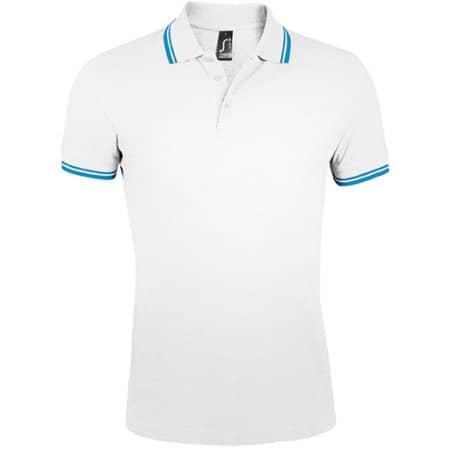 Men`s Polo Shirt Pasadena in White|Aqua von SOL´S (Artnum: L591