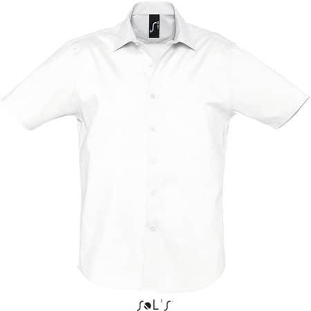 Herren Stretch-Kurzarmhemd Broadway in White von SOL´S (Artnum: L632