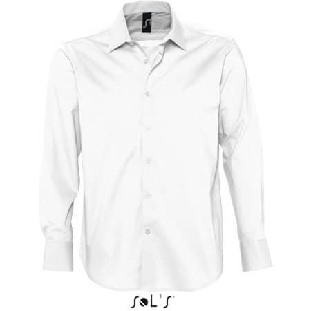 Herren Stretch-Langarmhemd Brighton in White von SOL´S (Artnum: L633