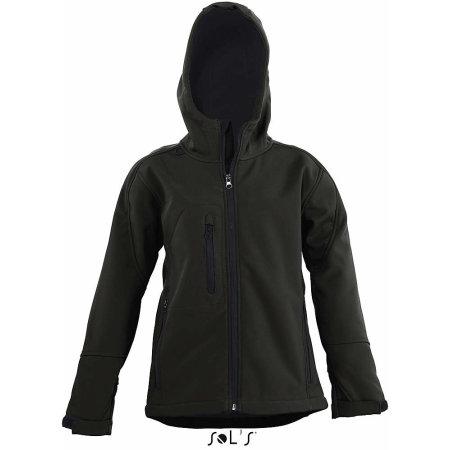 Kids` Hooded Softshell Jacke Replay in Black von SOL´S (Artnum: L848K