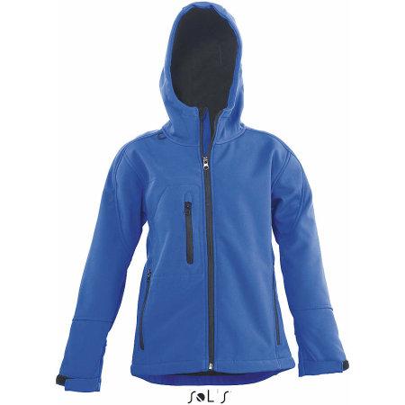 Kids` Hooded Softshell Jacke Replay in Royal Blue von SOL´S (Artnum: L848K