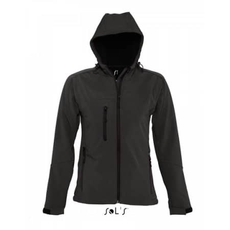 Women`s Hooded Softshell Jacket Replay in Black von SOL´S (Artnum: L849