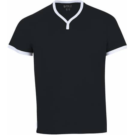 Short-Sleeved Shirt Atletico in Black|White von SOL´S Teamsport (Artnum: LT01177
