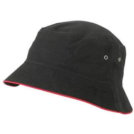 Fisherman Piping Hat in Black|Red von myrtle beach (Artnum: MB012