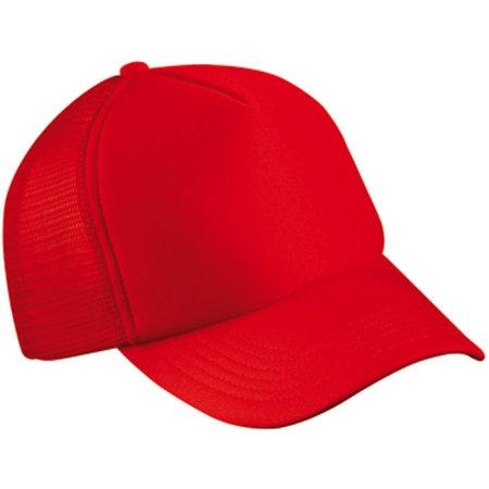 5-Panel Polyester Mesh Cap in Red von myrtle beach (Artnum: MB070