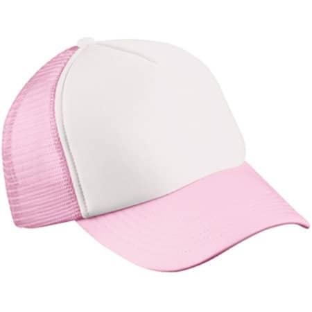5-Panel Polyester Mesh Cap in White|Baby Pink von myrtle beach (Artnum: MB070