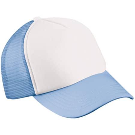 5-Panel Polyester Mesh Cap in White|Light Blue von myrtle beach (Artnum: MB070