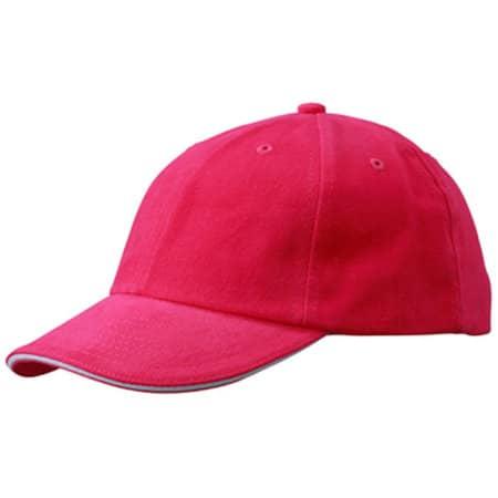 6-Panel Raver Sandwich Cap in Pink|White von myrtle beach (Artnum: MB6112