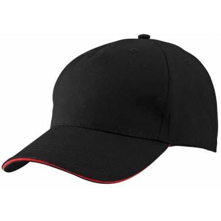 5 Panel Sandwich Cap MB6526 in Black|Red von myrtle beach (Artnum: MB6526