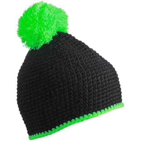 Pompon Hat with Contrast Stripe in Black|Neon Green von myrtle beach (Artnum: MB7964
