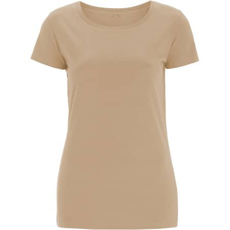 Womens Rounded Neck T-Shirt in Camel von Continental Clothing (Artnum: N09