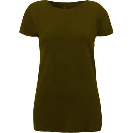 Womens Rounded Neck T-Shirt in Khaki Green von Continental Clothing (Artnum: N09