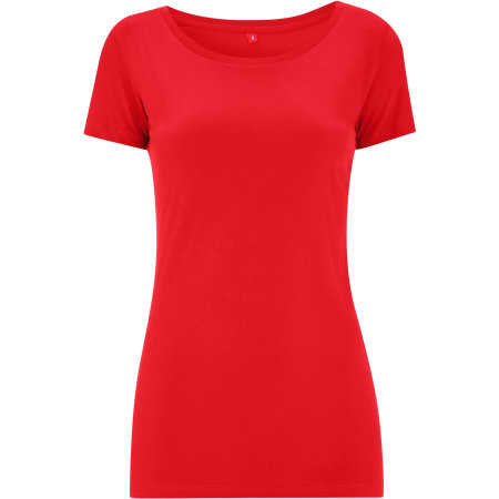 Womens Rounded Neck T-Shirt in Red von Continental Clothing (Artnum: N09