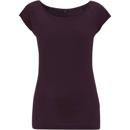 Women`s Bamboo Viscose Raglan T-Shirt in Eggplant von Continental Clothing (Artnum: N43