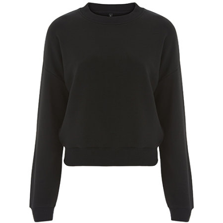 Womens Crop Sweatshirt in Black von Continental Clothing (Artnum: N57