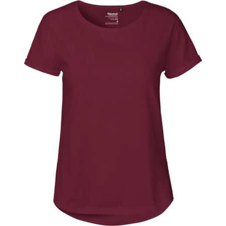 Ladies` Roll Up Sleeve T-Shirt in Bordeaux von Neutral (Artnum: NE80012