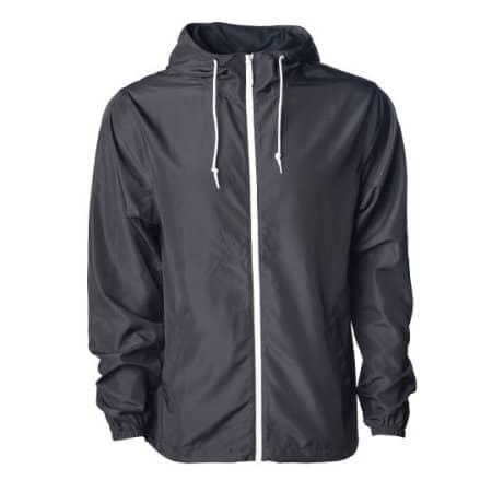 Men`s Lightweight Windbreaker Jacket in Black|Black|White von Independent (Artnum: NP700