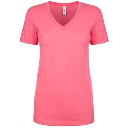 Ladies` Ideal V Neck-T in Hot Pink von Next Level Apparel (Artnum: NX1540