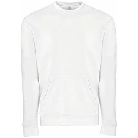 Unisex Fleece Crew Neck with pocket in White von Next Level Apparel (Artnum: NX9001