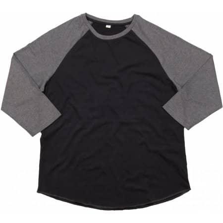 Men`s Superstar Baseball T in Black|Charcoal Grey Melange von Mantis (Artnum: P88