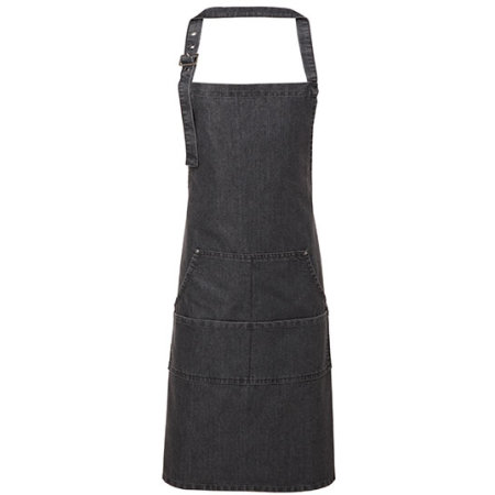 Jeans Stitch Denim Bib Apron in Black Denim (ca. Pantone 433) von Premier Workwear (Artnum: PW126