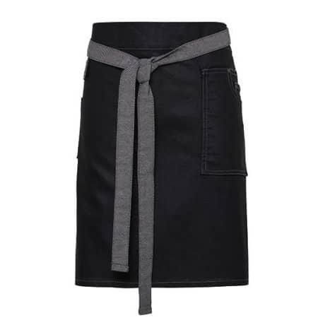 Division Waxed Look Denim Waist Apron in Black Denim (ca. Pantone 433) von Premier Workwear (Artnum: PW135