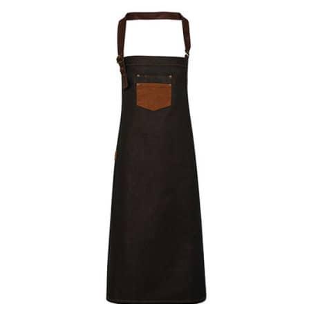 Division Waxed Look Denim Bib Apron With Faux Leather in Black|Tan Denim von Premier Workwear (Artnum: PW136
