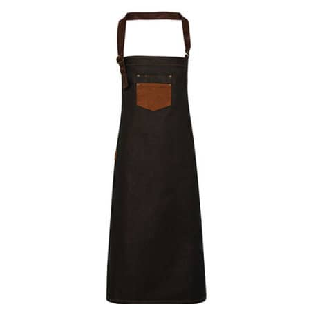 Division Waxed Look Denim Bib Apron With Faux Leather von Premier Workwear (Artnum: PW136
