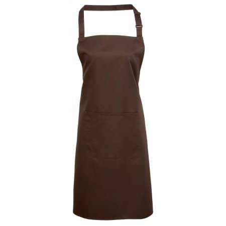 Colours Bib Apron With Pocket in Brown (ca. Pantone 476) von Premier Workwear (Artnum: PW154