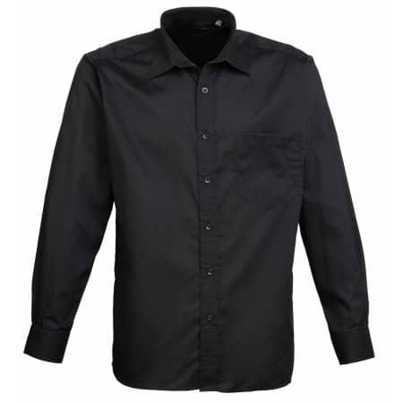 Poplin Long Sleeve Shirt (Herrenhemd/Langarm) in Black von Premier Workwear (Artnum: PW200