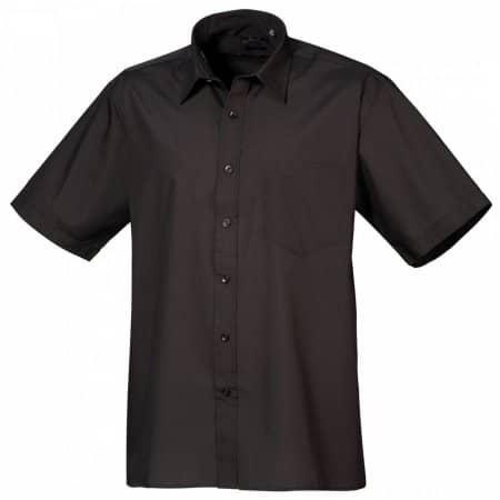 Poplin Short Sleeve Shirt (Herrenhemd/Kurzarm) in Black von Premier Workwear (Artnum: PW202
