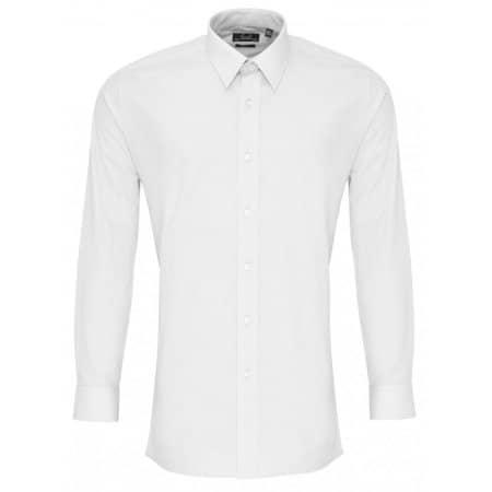Men`s Long Sleeve Fitted Poplin Shirt in White von Premier Workwear (Artnum: PW204